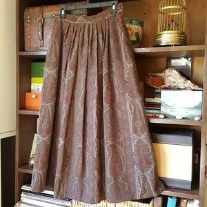 Maxmara Italy wool paisley full midi skirt Pockets